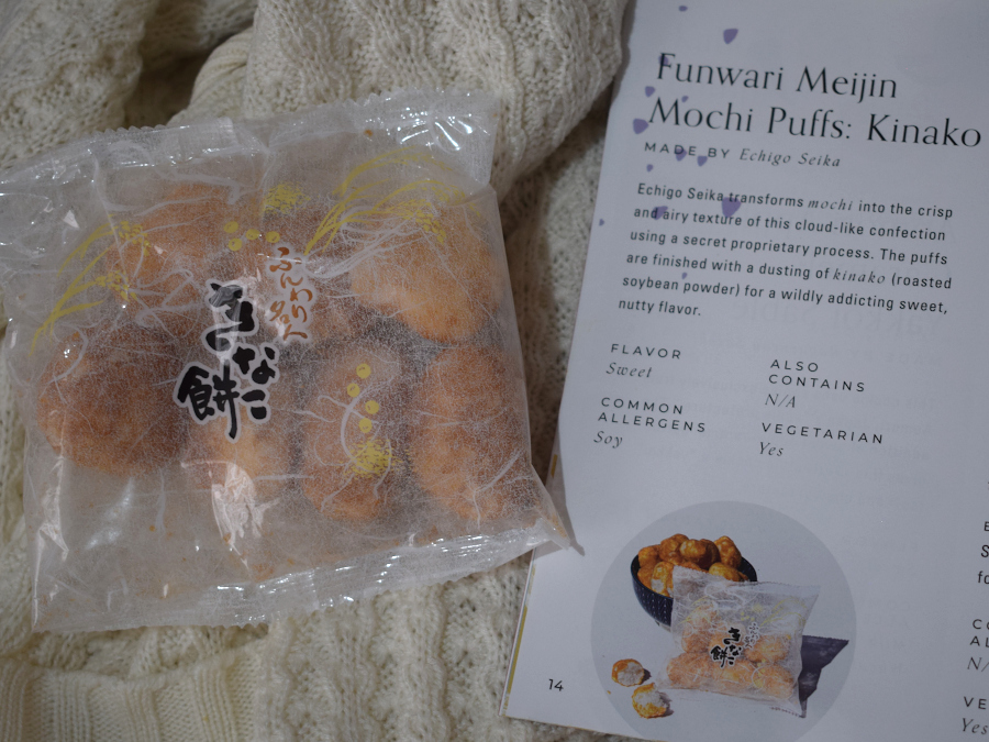 A single packet of dehydrated mochi next to a leaflet describing them